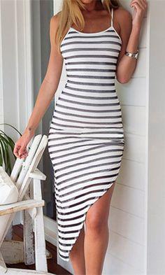 Spaghetti Strap Striped Asymmetrical Dress