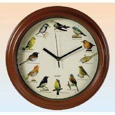 Novelty Bird Sounds Wall Clock - 12 Singing Birds.  Quite a Timepiece!