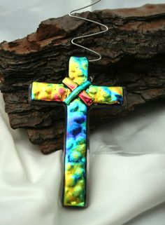 HB Jewelry Glass Design by hbjewelrydesign Fused Glass Ornaments, Fused Glass Art, Mosaic Glass, Dichroic Glass Jewelry, Glass Pendants, Slumped Glass, Mosaic Crosses, Rainbow Connection, Crosses Decor