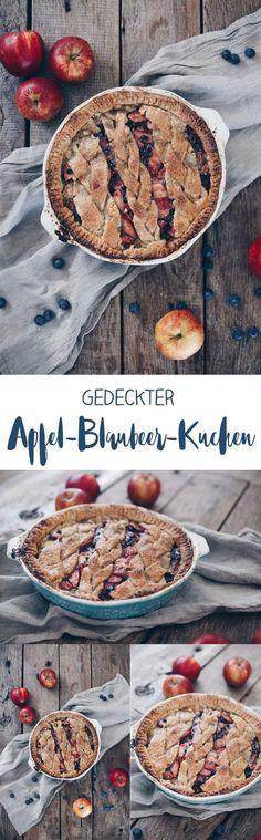 Gedeckter Apfel-Blaubeer-Kuchen mit Nussmürbeteig und Pistaziensteuseln - Rezeptidee #apfelkuchen #rezeptidee