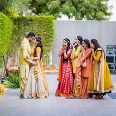 The Big Fat Indian Wedding couple poses The Must Have Bride & Bridesmaids Photos Indian Wedding Poses, Indian Wedding Couple Photography, Indian Weddings, Funny Wedding Poses, Indian Engagement Photos, Indian Wedding Bridesmaids, Indian Wedding Pictures, Wedding Couple Photos, Big Fat Indian Wedding