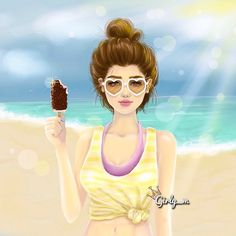 Summer, heart glasses, Girl illustration #sun / Estate, occhiali a forma di cuore, illustrazione Ragazza #sole - Art by girly_m, Websta (Webstagram)