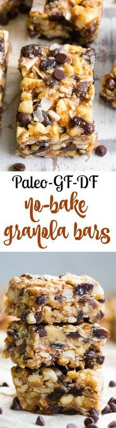 Chewy, crunchy, sweet and salty, these grain free and paleo no bake granola bars are going to become your favorite with the first bite! They're loaded with raisins and mini chocolate chips, coconut flakes and nuts, sweetened with raw honey and packed with healthy fats. Kid approved, gluten-free, dairy-free, grain free and addicting! | Posted By: DebbieNet.com