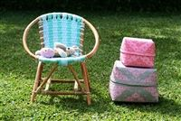rattan kids chairs with t-shirt yarn seating for extra comfy sitting Toddler Chair, Love Chair, Lavender Blue, Kids Hands, T Shirt Yarn, Lemon Yellow, Storage Baskets, Pastel Colors, Bunting