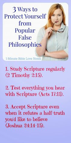 Many philosophies sound good to our human minds until we check them against Scripture. It's important that we always use God's Word as our test for truth. ~ Click image and when it enlarges, click again to read this 1-minute devotion.