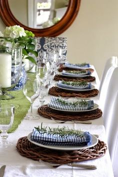 Blue and Brown Table Setting. Simplicity with rosemary for a table setting. Party Decoration, Table Decorations, Centerpieces, Enchanted Home, Beautiful Table Settings, Easter Weekend, Table Arrangements, Deco Table, Dinner Table