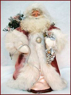 Silver Rose Santa Handcrafted by Kati. Merry Christmas To You, The Night Before Christmas, Father Christmas, Santa Christmas, Vintage Christmas, Elegant Christmas, Christmas Ornaments, Vintage Santa Claus, Vintage Santas