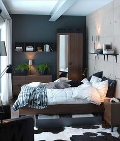 colours - Small bedroom with dark grey wall + white chalk wall design + modern wood furniture