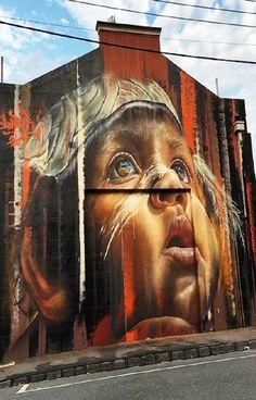 Street Art Paintings - Streetart News [wall – Adnate (Australia) a Melbourne Murals Street Art, Street Art News, 3d Street Art, Amazing Street Art, Street Art Graffiti, Street Artists, Amazing Art, Banksy, Graffiti Artwork