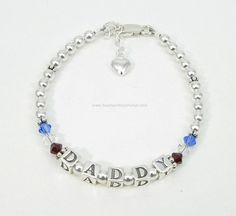 Child's Deployment Bracelet®  Sterling Silver with Swarovski Crystals for Aron's daughter.
