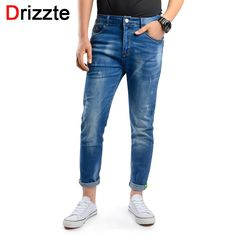 (26.46$)  Watch more here - http://ai3oh.worlditems.win/all/product.php?id=32789125737 - Drizzte Ankle Jeans Men light blue Denim Slim Fit Jeans for Men Comfort Jeans Trousers Pants for Men