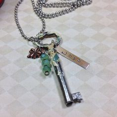Skeleton Key Necklace Antique Key Necklace Key by JewelryCharmers
