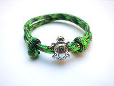 Kinderarmband Schildkröte Paracord grün silber von ~*~ AINIKKIS KINDERREICH ~*~ auf DaWanda.com