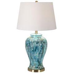 """27""""H Teal Temple Jar Ceramic Table Lamp"""