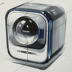 소형 세탁기(Small Washing Machine) www.skeren.co.kr #markertechnique #ideasketch #productdesign #productsketching #washingmachine #rendering #세탁기 #제품디자인 #제품스케치 #제품렌더링 #세탁기스케치