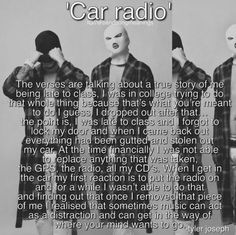 IM NOT EVEN KIDDING AS I WAS READING THIS CAR RADIO CAME ON MY PLAYLIST