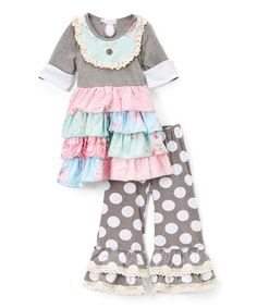 Another great find on #zulily! Gray & Pink Lace Ruffle Dress & Pants - Toddler & Girls #zulilyfinds