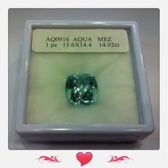 14.02 carat aquamarine nice color good fire square shaped.  Priced at $5680.