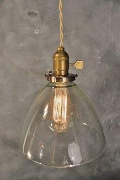 Vintage Industrial Hanging Light with Glass Cone by DWVintage