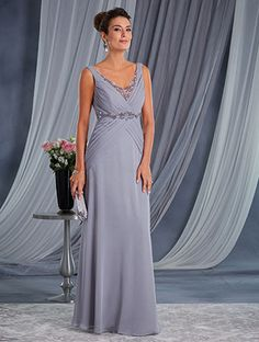 Alfred Angelo Style 9033: chiffon and soft net special occasion dress with V-neckline and empire waist