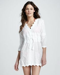 9b1757b5fdfb Letarte Scalloped Drawstring Cotton Tunic