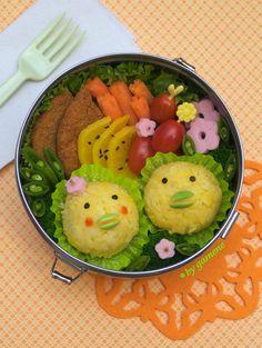Yellow rice birdie bento