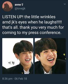 The wrinkles around Jungkook's eyes when he laughs. Very informative press conference lol. Namjoon, Kookie Bts, Bts Bangtan Boy, Btob, Vixx, I Love Bts, My Love, Jeongguk Jeon, Jackson