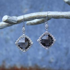 Cushion Cut Smoky Quartz and CZ Silver statement earrings, semiprecious, gemstone necklace Elle Taylor, Statement Earrings, Drop Earrings, Cushion Cut, Smoky Quartz, Trending Outfits, Unique Jewelry, Handmade Gifts, Silver
