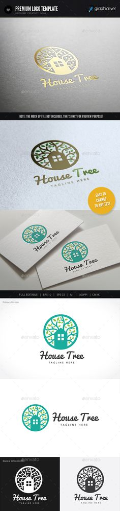 House Tree Logo Design Template Vector #logotype Download it here:  http://graphicriver.net/item/house-tree/9460151?s_rank=213?ref=nexion