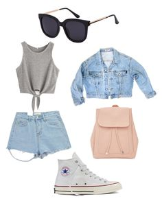 """Denim style"" by elisalong23 on Polyvore featuring GUESS, Chicnova Fashion, Converse and New Look"