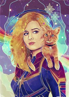 Stars, Cats and Rainbows Art Print by Monika Gross - X-Small Marvel Women, Marvel Avengers, Marvel Comics, Captain Marvel Carol Danvers, Marvel Fan Art, Marvel Cinematic Universe, Fantasy Art, Disney Characters, Fictional Characters