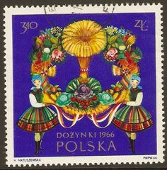 Stamp with Polish folk costumes