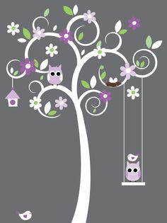 Nursery wall decals - white swirl tree decal - blue and pink flower stickers animal wall decals. Owl Nursery, Nursery Wall Decals, Wall Decal Sticker, Nursery Room, Baby Room, Nursery Decor, Nursery Ideas, Tree Decals, Little Girl Rooms