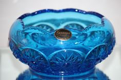 Kanawha blue hobstar bowl