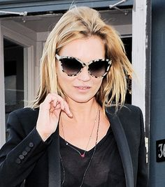 503fd146df1f Kate Moss, Wearing: Stella McCartney Rounded Cat Eye Sunglasses in Spotty  Tortoise Celebrities With