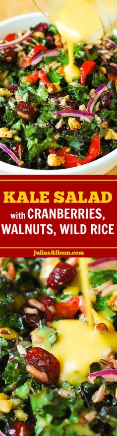 Healthy Kale Salad with Cranberries, Walnuts, and Wild Rice. Gluten free, vegetarian, vegan! #BHG #sponsored
