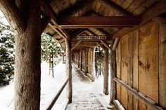 Winter Covered Walkway Snow at Lake Placid Lodge surrounded by fresh snow and beautifully scented pines.