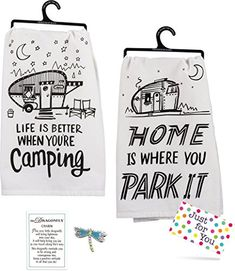 Camping Dish Towel Set made our list of camper gifts that make perfect RV gifts which are unique gifts for RV owners Rv Gifts, Gifts For Campers, Best Gifts, Unique Gifts, Rodeo, Camping Dishes, Camper Kitchen, Camping Signs, Camping Ideas