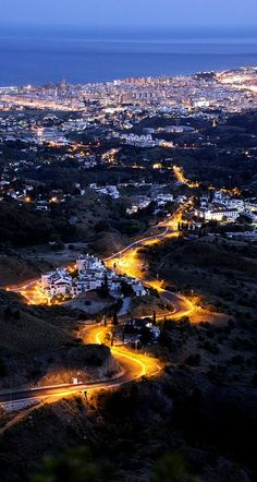 Fuengirola at dusk from Mijas, Málaga, Spain. My Home From Home. :) Can't wait to get back next year. :) xx