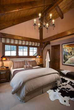 Bedroom photo in a douglas fir Woodhouse timber frame home