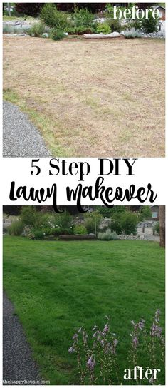 Our before & after lawn makeover project - how we went from a patchy, weedy, lawn in bad shape to a healthy, lush, green lawn with Scotts…