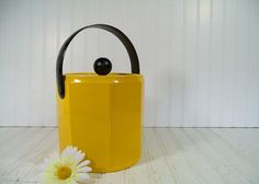 Retro Yellow & Black Patent Leather Ice Bucket  by DivineOrders, $43.00