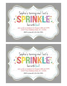 Sprinkle Printable Birthday Party Invitation by TheCopperBeeShop