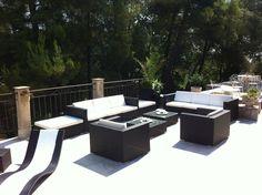 Caligari : salon de jardin 5 places en résine tressée et aluminium ...