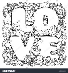 Love Zentangle Art 3 Coloring Pages Love Coloring Pages, Printable Adult Coloring Pages, Mandala Coloring Pages, Coloring Books, Style Floral, Zentangle Patterns, Zentangles, Free Downloads, Doodles