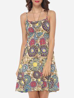 Bohemian Printed Captivating Spaghetti Strap Shift-dress
