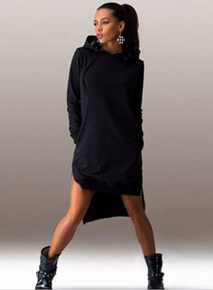 Women's Fashion Solid Long Sleeve High Low Hoodie novashe.com