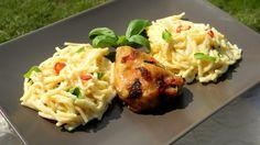 Chilis-bazsalikomos csirkecomb spagettivel
