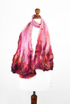 Pink Felted Scarf Rose Fashion Wrap art Scarves Light Felt Nunofelt Nuno felt Silk wearable art Eco Boho Fiber Art via Etsy
