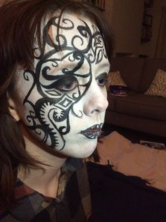 Black and white face paint.